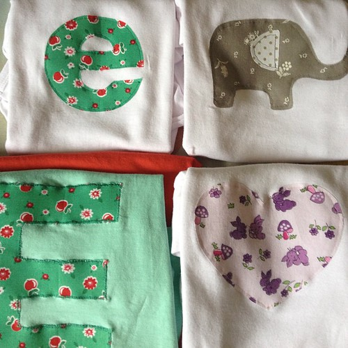Appliqué onesies and t-shirt pressies.