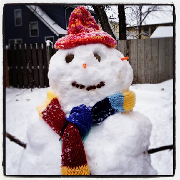 Our awesome snowman. #snow #snowman #happyincle