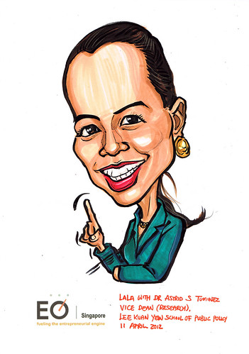Dr Astrid S Tuminez caricature for EO Singapore