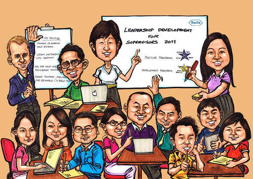Workshop group caricatures for Genentech (coloured background)