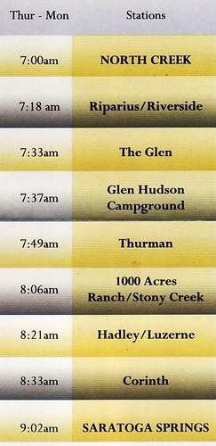 Saratoga and North Creek Schedule