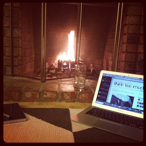 Blogging by the fire... #fireside #flames #fireplace