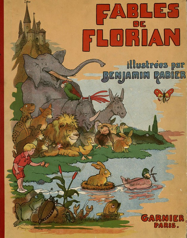 illustrated children's book cover with happy animals and a child around a brook