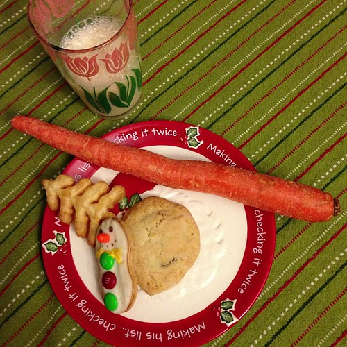 Santa's midnight snack is all ready for him! Oh and a carrot for the reindeer. Of course.