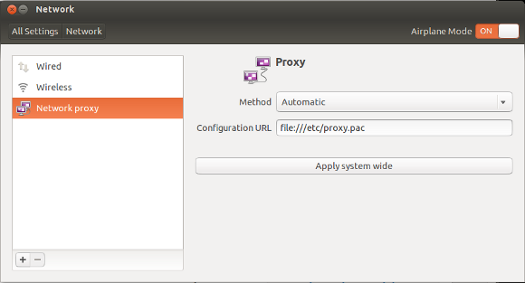 Proxy autoconfig on Ubuntu Desktop