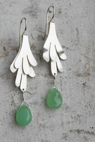 Desert Lichen earrings with chrysoprase drops
