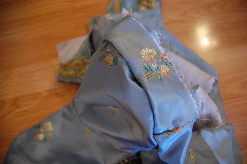 Blue Silk Jacket Sleeve