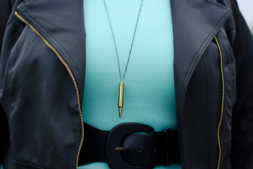 Kirstin Marie in mint dress & faux leather jacket from Deb Shops, Nasty Gal Bullet Pendant Necklace
