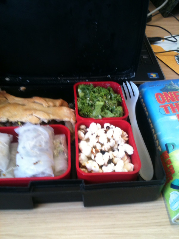Lunch box and book
