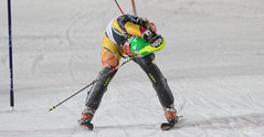 Erin Mielzynski crosses the finish line of the World Cup slalom in Zagreb, Croatia