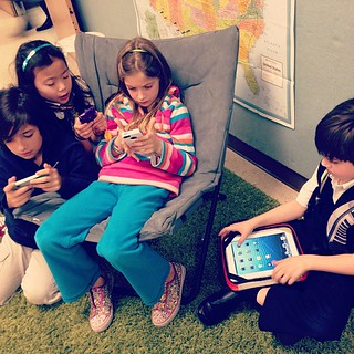 Kids hanging out...ON MOBILE DEVICES. #thekesslerschool