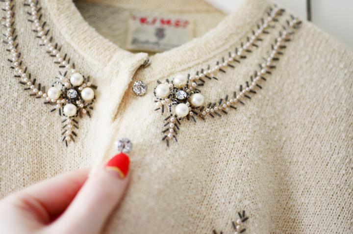 vintage cardigan pearl sparkles e