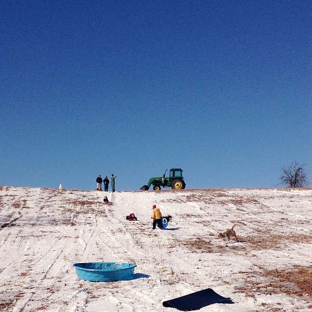 Farm sledding hill... #tractor #kansas