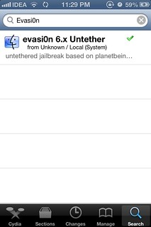 Search evasi0n in Cydia