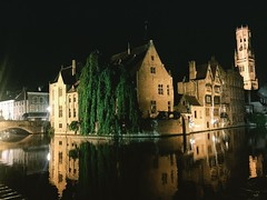 It's even more beautiful at night. There were bars swooping around the bridges. Bruges, stop it!