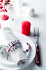 Christmas table setting in red