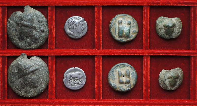 RRC 18 Aes Grave sextans, RRC 20 Hercules Wolf Twins didrachm, RRC 21 Roma-Roma Aes Grave uncia, semuncia, Ahala collection, coins of the Roman Republic