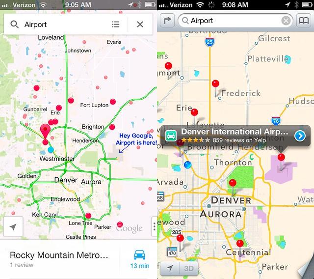 Apple Maps Vs Google Denver Airport Search