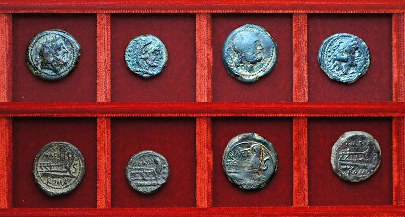 RRC 255 M.ACILI Acilia bronzes, RRC 256 Q.METE Caecilia bronzes, Ahala collection, coins of the Roman Republic