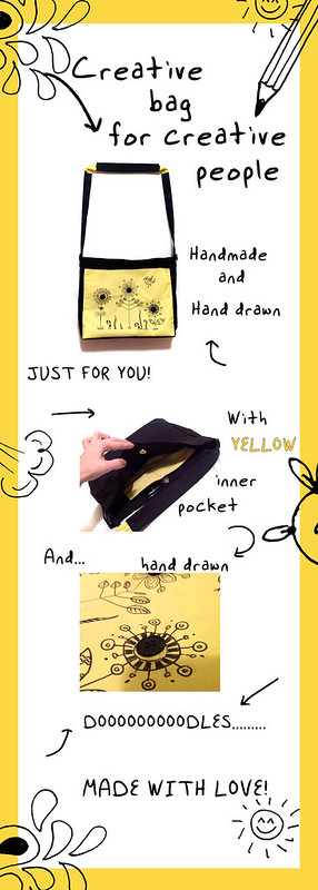 Creative shoulder bag bright yellow and black color with hand drawn doodles