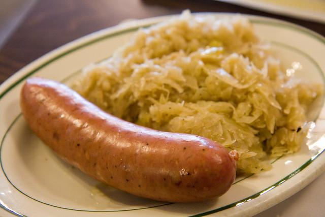 Krainerwurst and sauerkraut, Gottscheer Hall