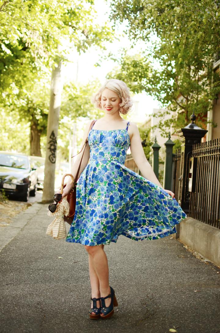 vintage blue floral dress a
