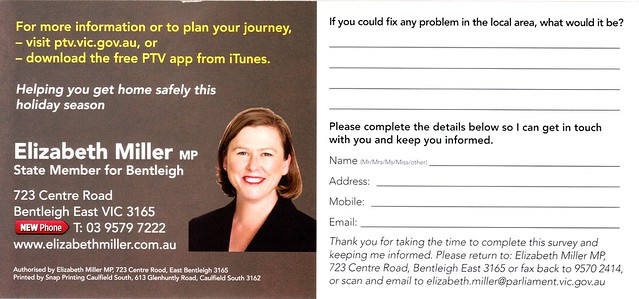 Flyer from Elizabeth Miller, MP for Bentleigh (back)