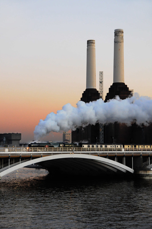 Steam train and Battersea Power Station