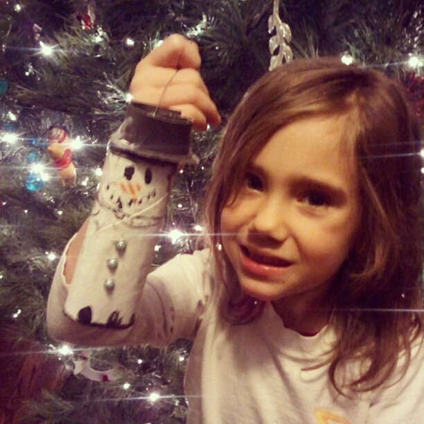 Toilet paper roll snowman. #ornamentaday