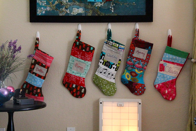 Stockings are hung by the dog door with care