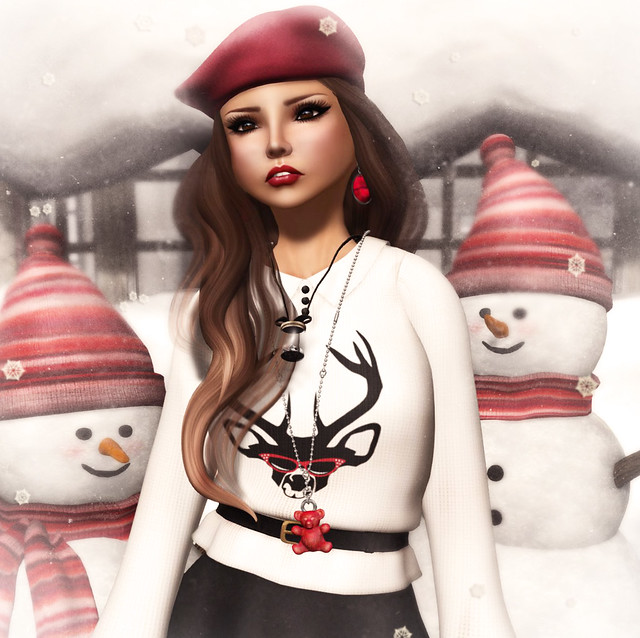 The Secret Store - Christmas Sweater - Oh Deer-White & Crepe Skater Skirt - Charcoal Close