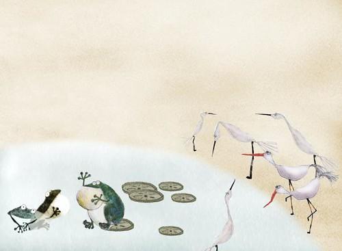 水池邊 這張圖是在關渡自然公園裡畫的,圖中有白鷺鷥、高腳鴴(ㄏㄥˊ)、王蓮和青蛙。人說水是生命的源頭,只要有乾淨的水,世界似乎也就熱鬧多了。