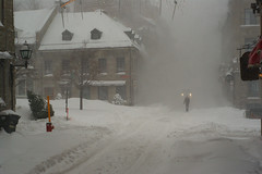 Old Montreal in the snow storm