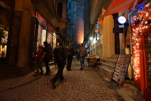 Early evening shopping below the Galata Tower