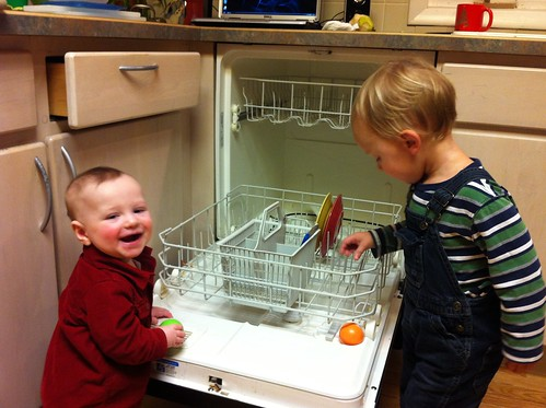 Franklin and Evan Helping with the Dishwasher 2