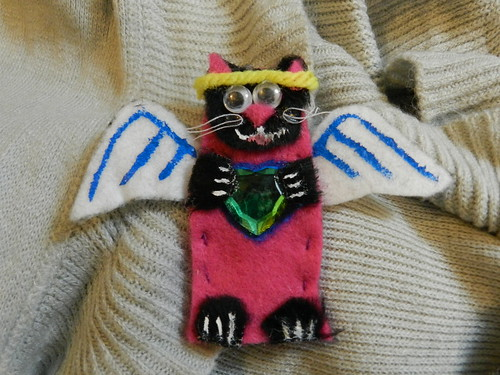 Jen made me a cat angel finger puppet with a big heart