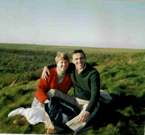 Bex & Paul England 1989 sitting atop Sutton Bank Yorkshire
