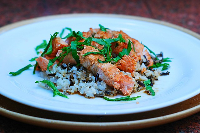 Salmon with Sake sauce and wild rice