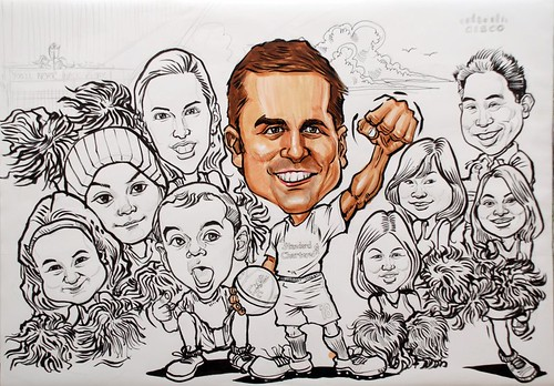 group caricatures for Cisco - progress