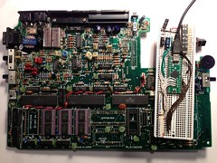 TRS-80 Model 100 motherboard versus Teensy++ version