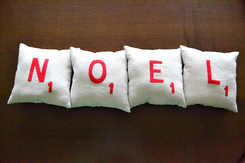 Noel Scrabble Pillows