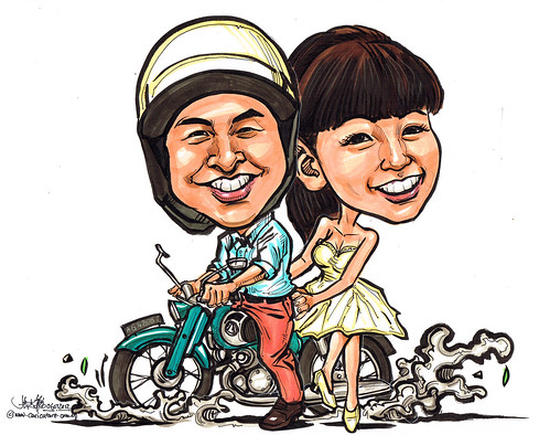 wedding couple caricatures on a motorbike