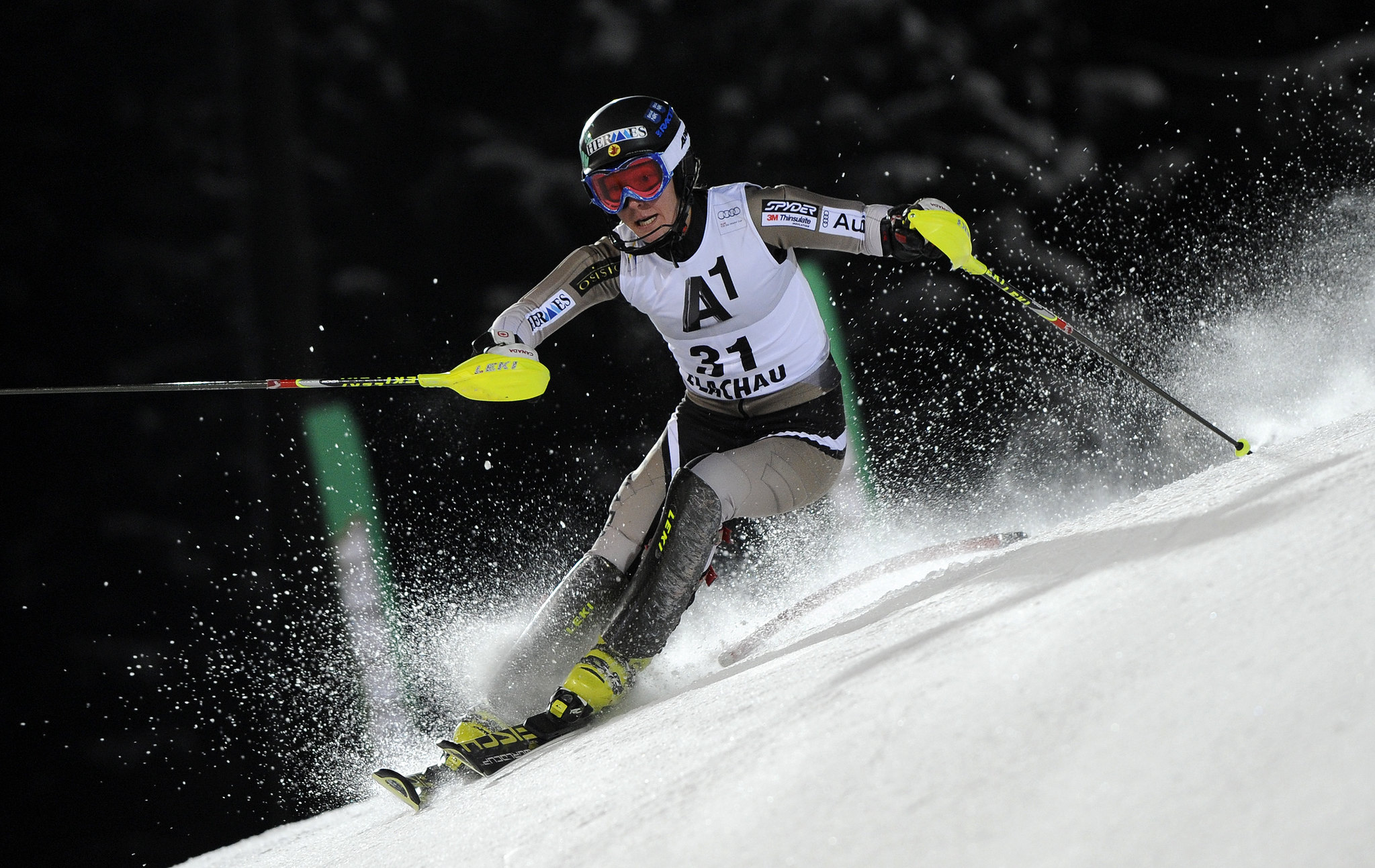 Brittany Phelan in action in the World Cup night slalom in Flachau, Austria.