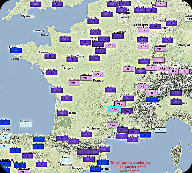 températures maximales glaciales du 26 janvier 1947 météopassion