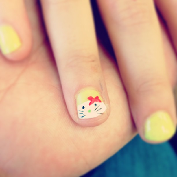 Hello Kitty-ish nails for Emma!