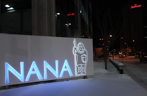 "Nana Corporation sign, ""I"" Street, off the parkstrip, Marriott hotel, winter, Anchorage, Alaska, USA by Wonderlane"