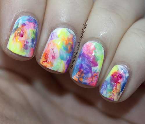 Colorful Watercolor Nail Art