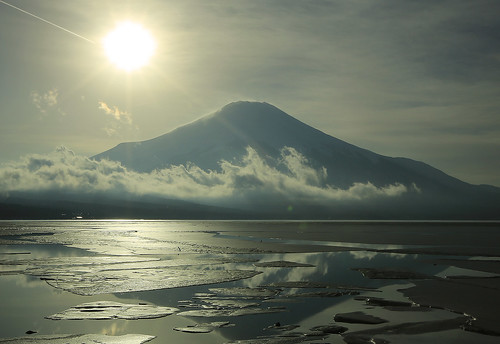 sunset mountain lake ice sunshine clouds canon eos volcano fuji jetstream 5d