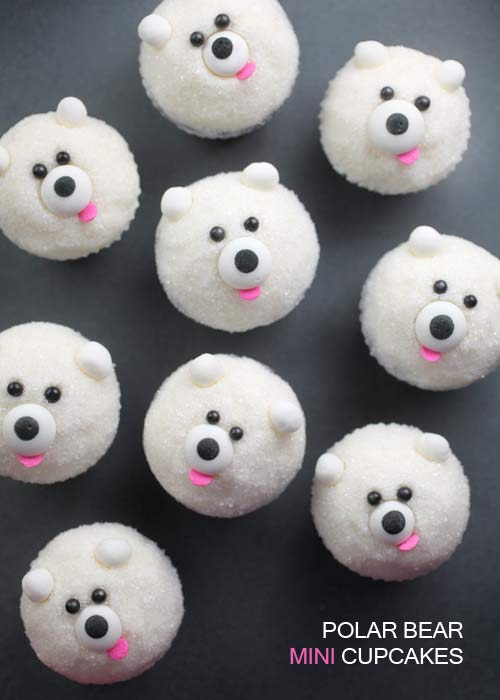 Miniature Polar Bear Cupcakes