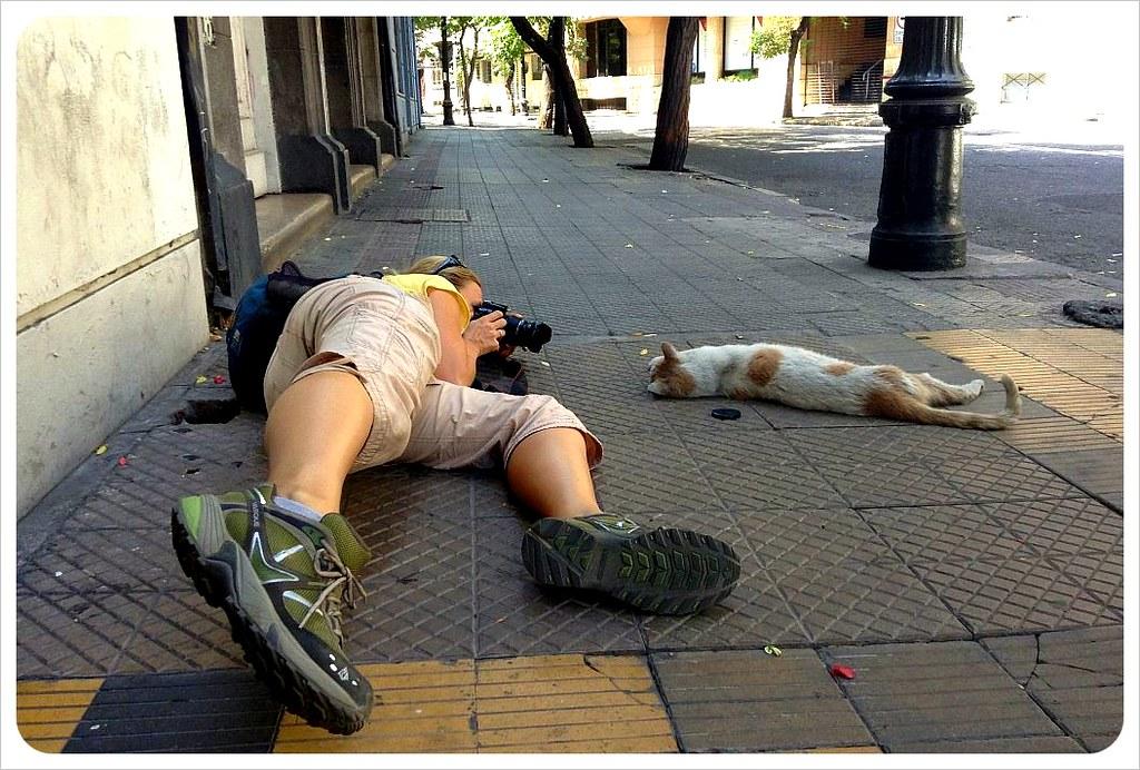 Dani taking a photo in Lastarria Santiago de Chile